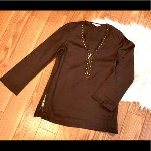 Michael Kors Brown Linen Shirt with Gold  Studs